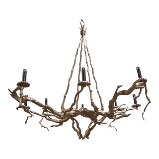 8 Light Bronze Manzanita Branch Chandelier- Luciano Tempo Collection For Sale
