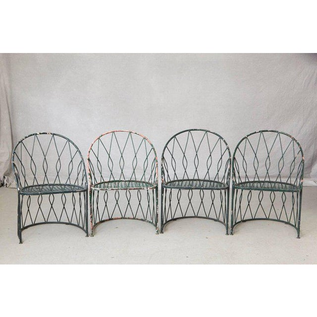 Set of Four Salterinini Round Wrought Iron Barrel Back Patio or Garden Chairs For Sale - Image 9 of 9