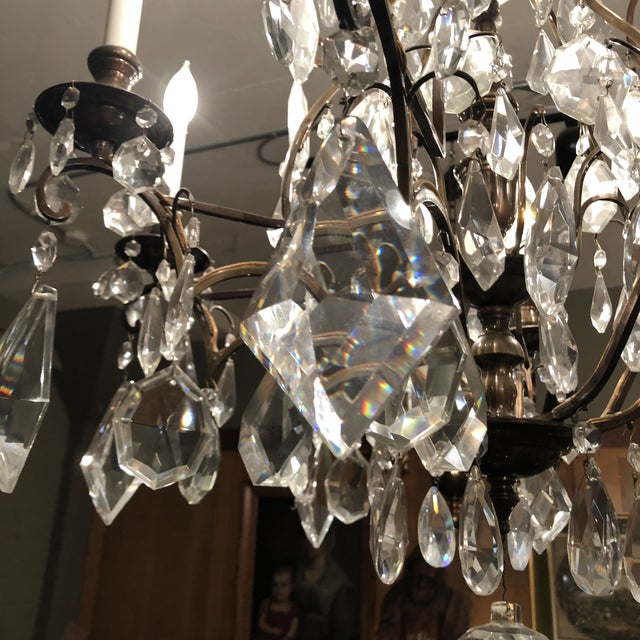 1930s 1930s Vintage Fabulous Lead Crystal 8 Light Chandelier For Sale - Image 5 of 12