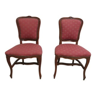 Antique French Regency Carved Dining Chairs - A Pair