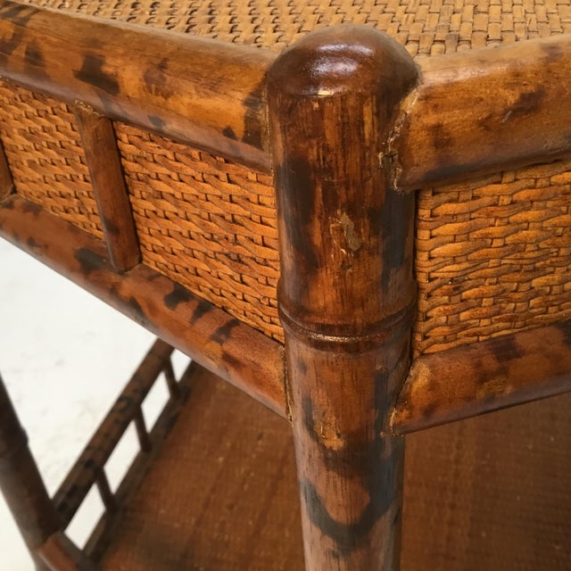 Orange 1960s Asian Bamboo Hexagonal Occasional Table For Sale - Image 8 of 10