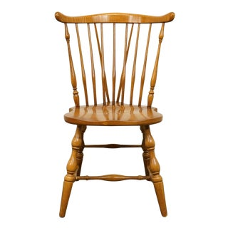 Late 20th Century Vintage Pennsylvania House Hard Rock Maple Colonial Fiddleback Dining Chair For Sale