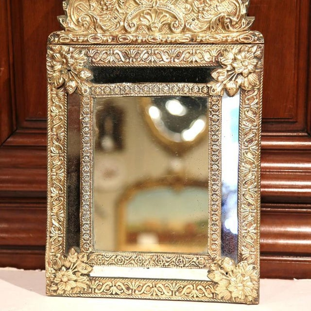 19th Century French Repousse Copper Parclose Wall Mirror For Sale - Image 5 of 6