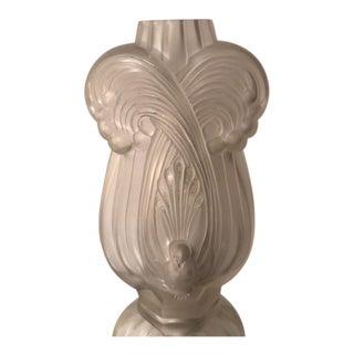 "Rare Antique Etling Art Deco Glass Peacock Bird Vase 13"""