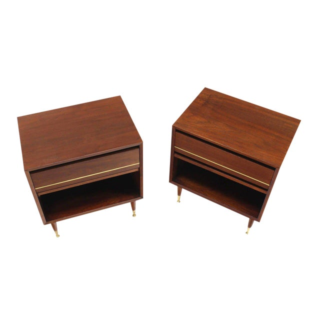 Pair of Danish Modern One Drawer Night Stands Brass Tip Legs Cube Shape For Sale