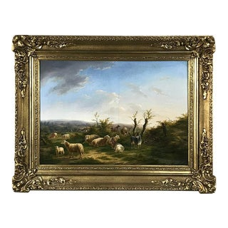 19th Century French Framed Hand Painted Oil Painting on Canvas - Barbizon School For Sale