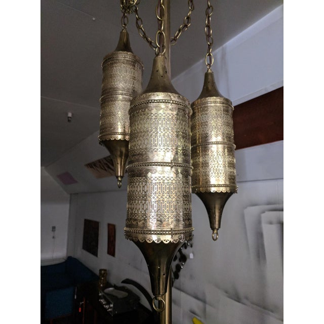 1960s Mid Century Tension Pole Swag Lamp With 3 Brass Moroccan Style Fixtures For Sale - Image 5 of 8