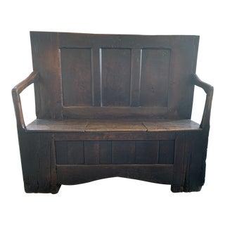 Antique English Oak Paneled Settle For Sale