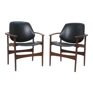 1950s Vintage Hovmand-Olsen for Jutex Danish Modern Lounge Chairs- A Pair For Sale