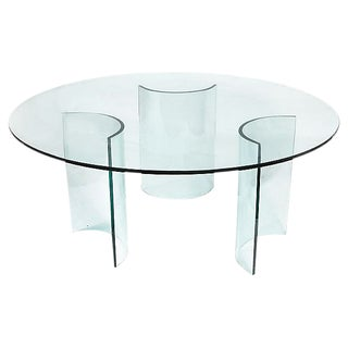 1960s Italian Round Glass Dining Table