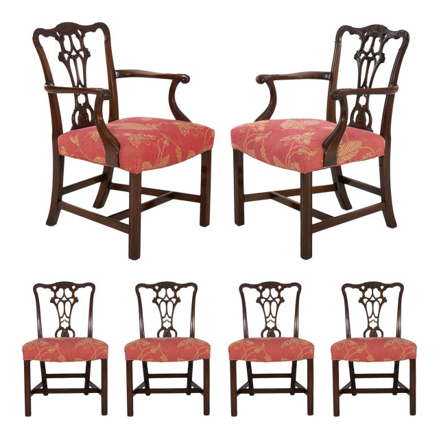 20th Century English Antique Carved Mahogany Dining Chairs - Set of 6 For Sale