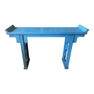 Distressed Blue Altar Table For Sale