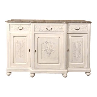 Ntique French Louis XVI Painted Marble Top Buffet For Sale