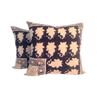 Vintage Block Printed Kantha Pillows - A Pair
