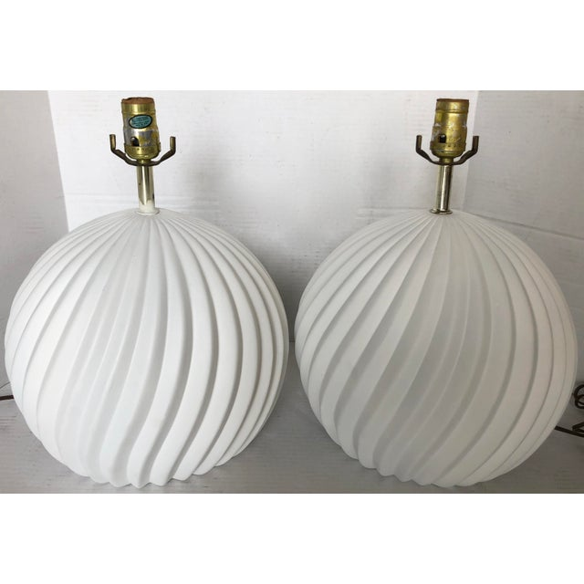 White Gesso Swirl Table Lamps - A Pair For Sale - Image 4 of 6