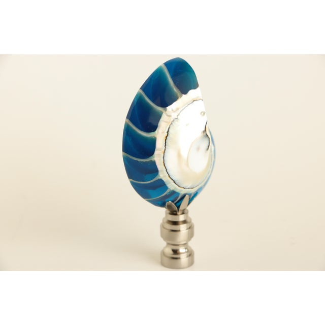 Nautilus Shell Finial Lamp Lucite Filled L5jA4R