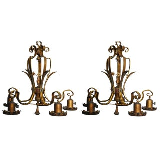 American Bronze Light Fixtures - A Pair For Sale