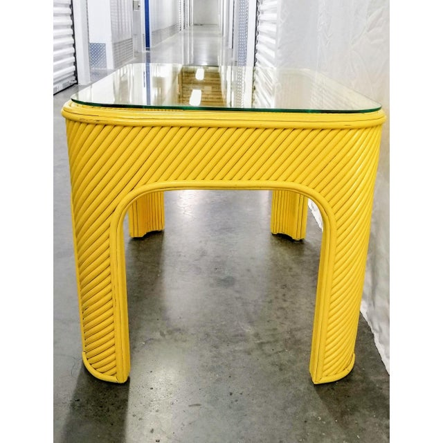Boho Chic 1970s Yellow Pencil Reed Bamboo & Glass Coffee or Occasional Table For Sale - Image 3 of 6