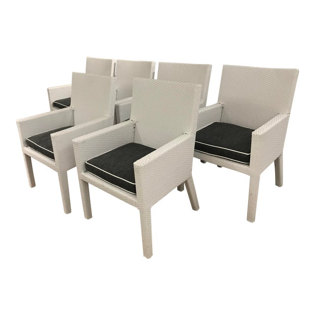 Arm Frontgate Wicker Dining Chairs - Set of 6 For Sale