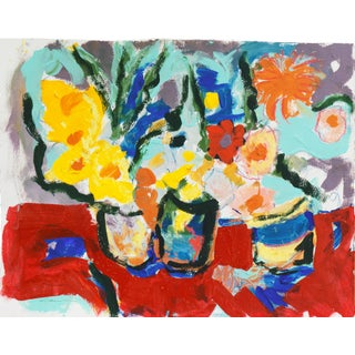 'Still Life of Spring Flowers' by Robert Canete; California Expressionist, Carmel, Stanford For Sale