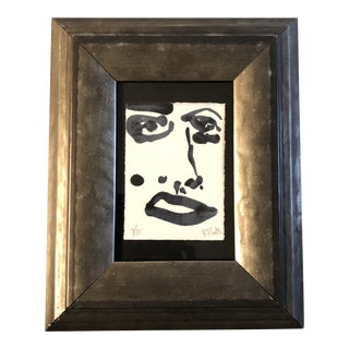 Small Contemporary Original Robert Cooke Abstract Face Painting For Sale