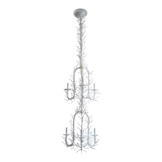 Vintage French Coastal White Double Tier Faux Coral Chandelier For Sale