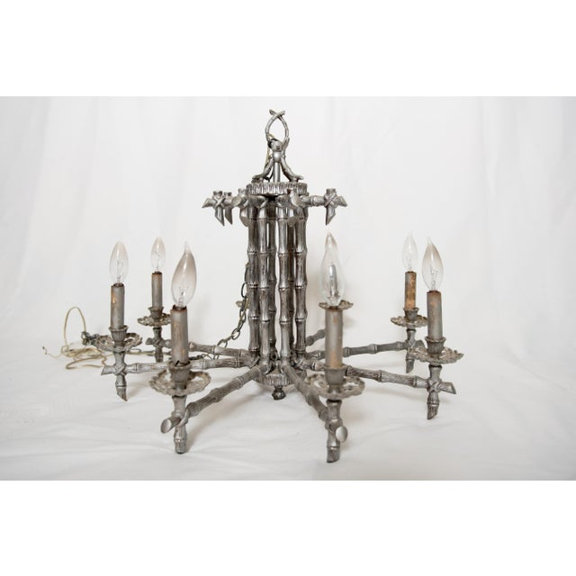 Faux bamboo chinoiserie chandelier chairish faux bamboo chinoiserie chandelier image 2 of 6 aloadofball Choice Image