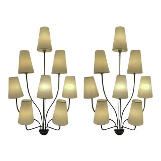 "Jean Royere Documented Eight Light Pair of Model ""Persanne"" Sconces For Sale"