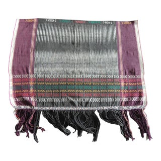 Vintage Purple and Black Woven Ikat Textile Fragment With Fringes For Sale