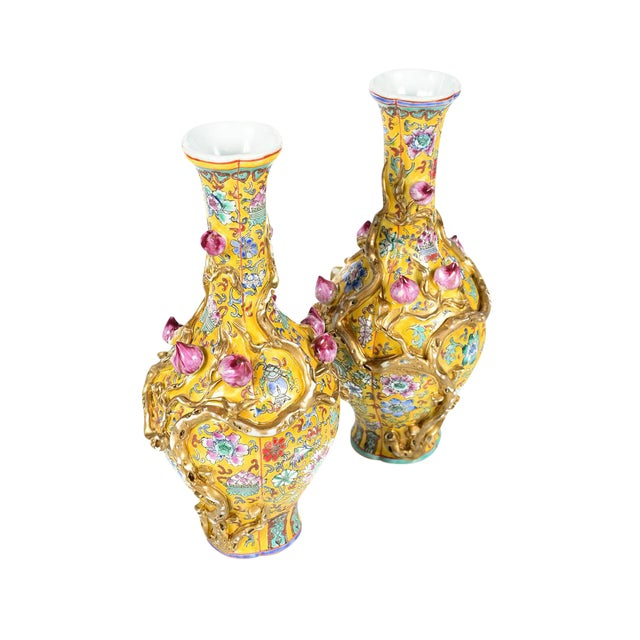 Chinese Yellow Famille Rose Vases - a Pair For Sale