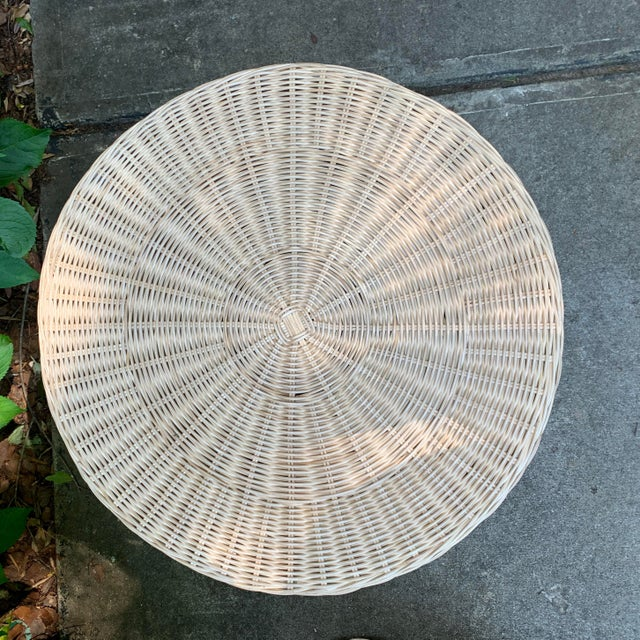 Trompe l'Oeil Round Top Draped Rattan Tables - a Pair For Sale - Image 4 of 12