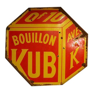 """Bouillon Kub"" French Metal Advertising Sign"