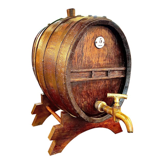 19th Century French Oak Cognac Barrel on Stand For Sale