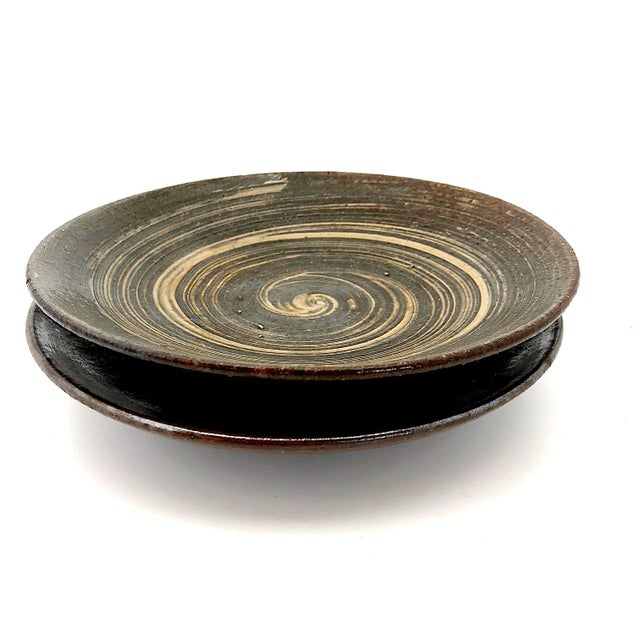 Handthrown Mid-Century Studio Pottery Plates - A Pair For Sale - Image 4 of 11