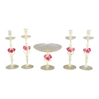 Venetian Centerpiece Set Candlesticks with Gold Inclusions Applied Pink Roses For Sale