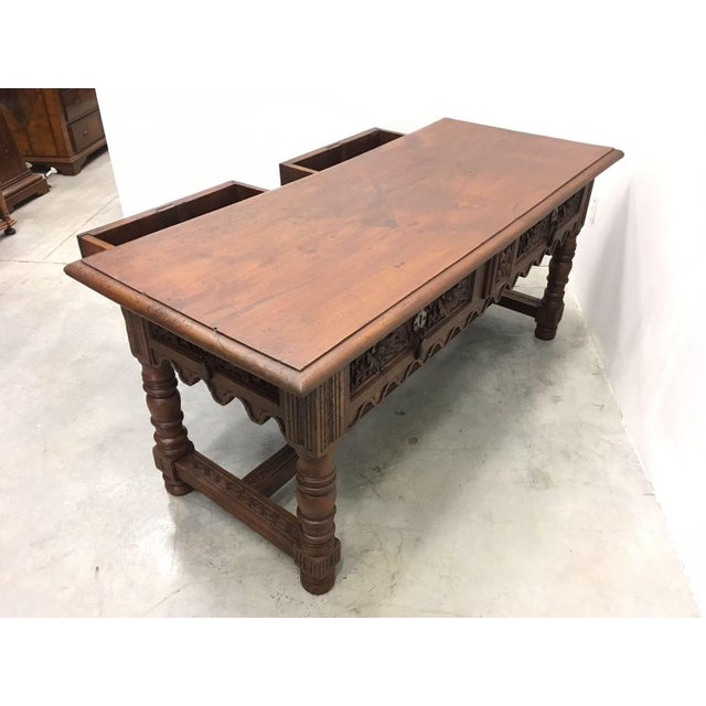 17th Century Spanish Baroque Carved Walnut, Refectory Console Table For Sale - Image 9 of 10