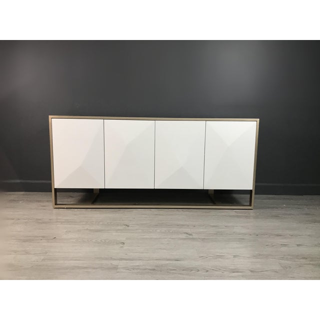 Metal Cleo Spike Wood Cabinet in White For Sale - Image 7 of 8