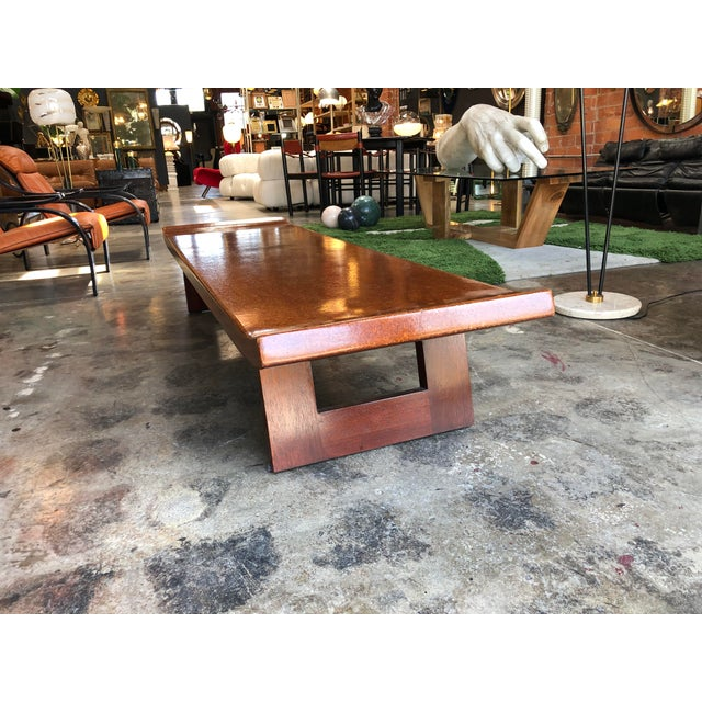 Mid-Century Modern Hardwood Bench For Sale - Image 4 of 9