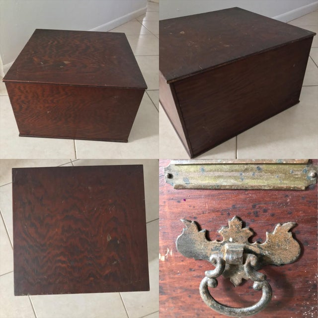 Gold Antique 18th Chippendale Card File Cabinet Trunk For Sale - Image 8 of 13