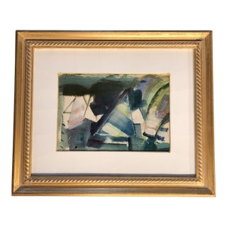 Vintage Original Modernist Abstract Sail Boat 1960's Painting For Sale
