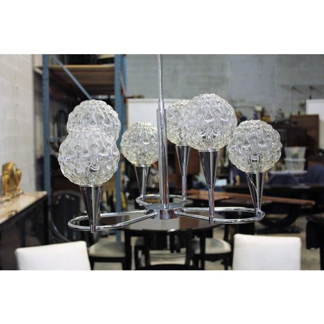 Circa 1960s French Mid Century Six Light Chrome Chandelier - Image 5 of 11
