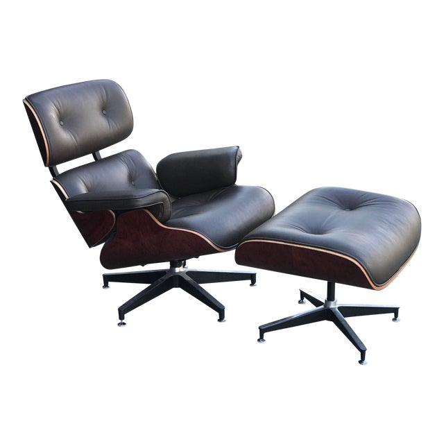 Mid Century Style Lounge Chair and Ottoman For Sale