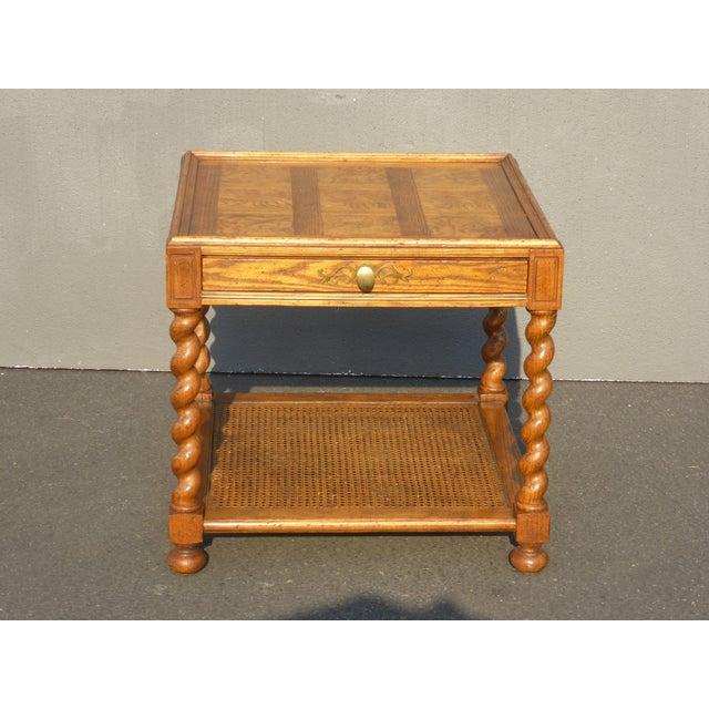 Baker Furniture Company Baker Furniture Barley Twist Cane Shelf End Table ~ Side Table For Sale - Image 4 of 13