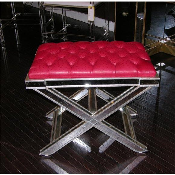 Pair of Custom Silver X-Band Benches with Red Leather For Sale In New York - Image 6 of 6