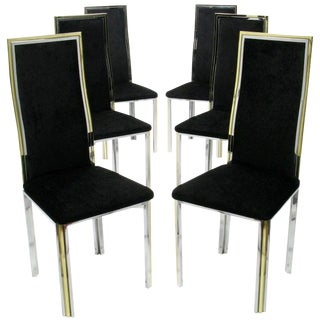 Six Chrome and Brass Dining Chairs Attributed to Romeo Rega For Sale