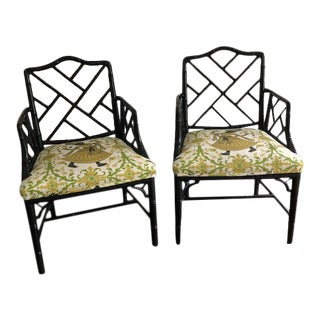 Vintage Bamboo Black Lacquered Chairs Upholstered in Holland & Sherry Dancers - a Pair For Sale