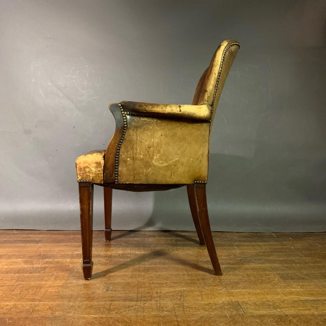 Early 1900s English Leather & Mahogany Library Chair For Sale - Image 9 of 11