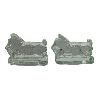 Blanko Style Mid Century Glass Terrier Bookends - a Pair For Sale