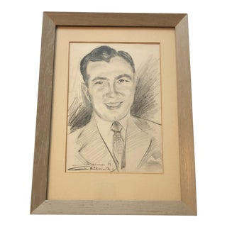 Final Price! Mid-Century Modern Man Framed Original Pencil Sketch by Greenway For Sale