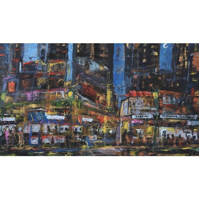 Linen Juan Guzman Los Angeles Cityscape Abstract Painting For Sale - Image 7 of 10